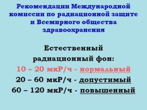 Нормальный фон радиации мкр ч. Радиационные уровни