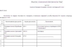 Образец акта проверки трудовых книжек. Акт передачи трудовых книжек в другую организацию