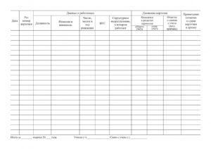 Журнал регистрации личных карточек т 2 образец. Журнал учета личных карточек