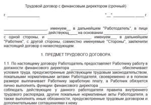 Трудовой договор с заместителем директора — образец.